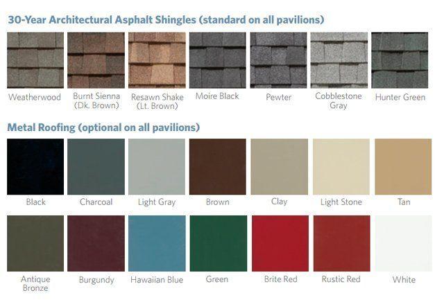 Pavilion roof color options