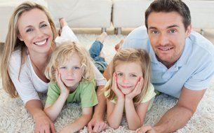 Family on carpet floor