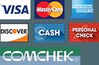 Visa, MasterCard, American Express, Discover, Cash, Personal Check, Comcheck