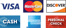 Visa, MasterCard, Discover, Cash, American Express, and Personal Check