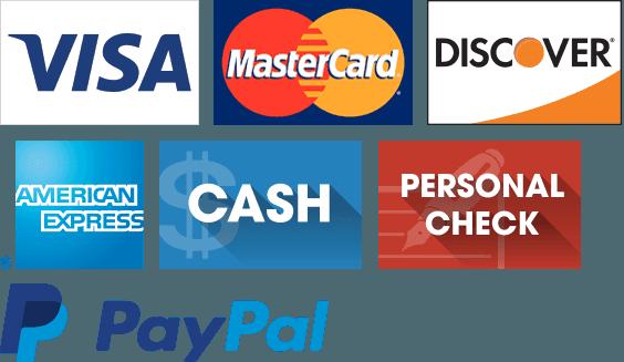 Visa, Discover, MasterCard, American Express, Cash, Personal Check, and PayPal