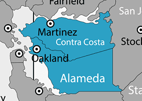 Premier Pools & Spas Contra Costa & Alameda County service area map