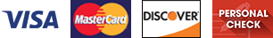 Visa, MasterCard, Discover, Personal Check