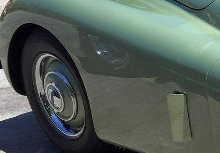 Closeup view of classic car fender