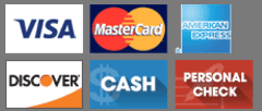 Visa, MasterCard, American Express, CareCredit, Discover, Cash, Personal Check