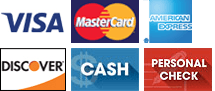 Visa, MasterCard, Amex, Discover, Cash, Personal Check