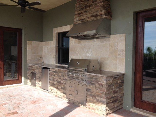 Straight Run Outdoor Kitchens Wood Ceilings Fire Features
