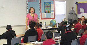 Teacher talking to class