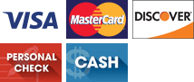 Visa, MasterCard, Discover, Personal Check, Cash