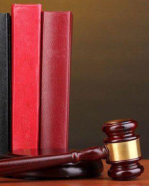 Law books, gavel