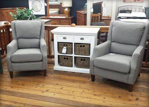 Gray colored chairs and white cabinet