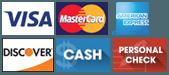 Visa, MasterCard, American Express, Discover, Cash and Personal Check