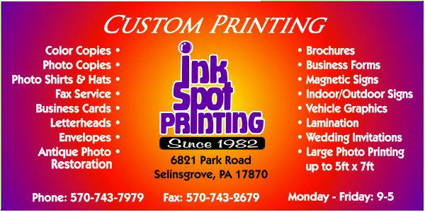 Ink spot printing business printing selinsgrove pa ink spot printing colourmoves
