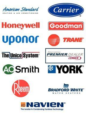 American Standard, Honeywell, Uponor, The Unico System, AO Smith, Rheem, Carrier, Goodman, Trane, Lennox, York, Bradford White, Navien