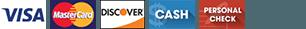 Visa Discover MasterCard Cash Personal Check