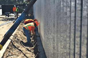 Man on concrete works