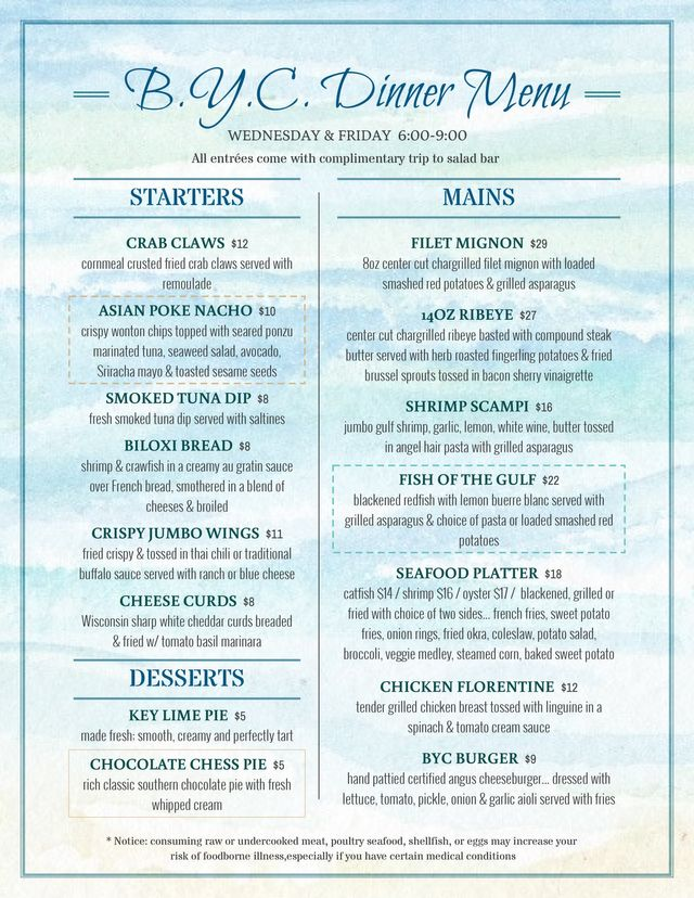 Wednesday and Friday Menu - Biloxi Yacht Club Sunday | Yacht