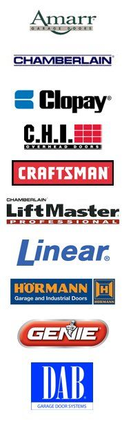 Brand logos: Amarr, Chamberlain, Clopay, CHI, Craftsman, LiftMaster, Linear, Hormann, Genie and DAB