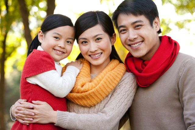 Asian Family smiling outdoors