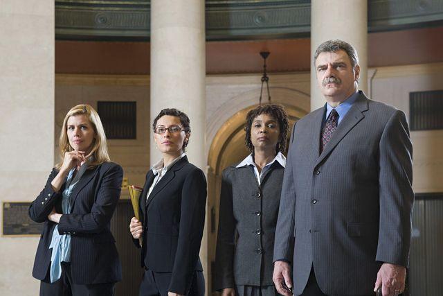 Lawyers in atrium
