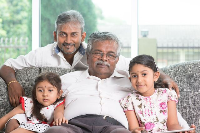 grandfather with his granddaughters