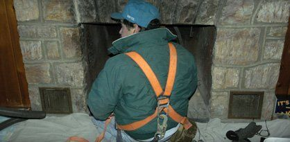Fireplace chimney cleaning