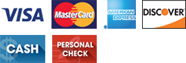 Payment options - Visa, MasterCard, American Express, Discover, Cash, Personal Check