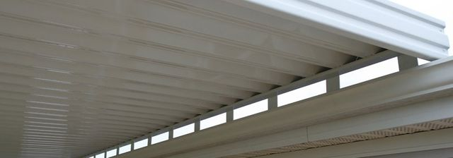 Closeup view of newly built patio cover