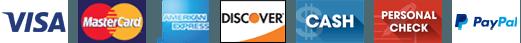 Visa | Mastercard | AmEx | Discover | Cash | Personal Check | Paypal