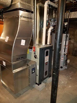 New furnace installed with custom duct work