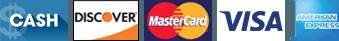 Cash | Discover | Mastercard | Visa | American Express