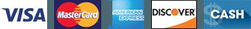 Visa | Mastercard | American Express | Discover | Cash - Logos