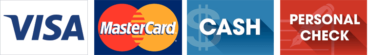 Visa, MasterCard, Cash and Personal Checks logos