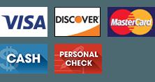 Visa | Discover | MasterCard | Cash | Personal Check