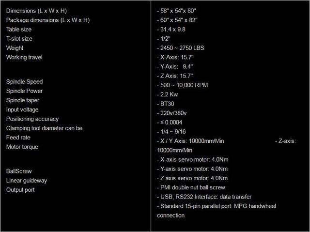 S7 CNC machine specifications