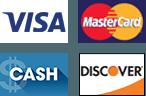 Visa | MasterCard | Cash | Discover