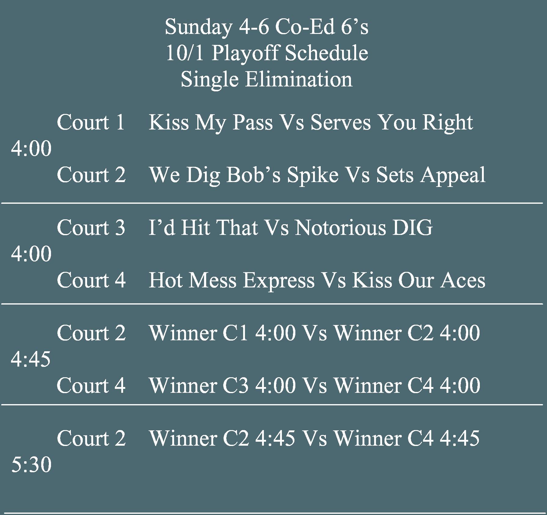 Drkula's Sunday Co-ed 6's 4-6