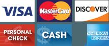 Visa, MasterCard, Discover, Personal Check, Cash, Amex