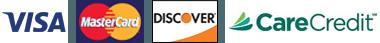 Visa, MasterCard, Discover, CareCredit