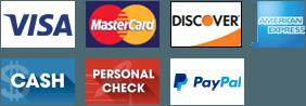 Visa, MasterCard, Discover, AMEX, Cash, Personal Check, PayPal