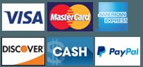 Visa | MasterCard | AmericanExpress | Discover | Cash | PayPal
