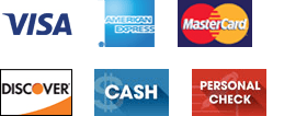 Visa, American Express, MasterCard, Discover, Cash, and Personal Check