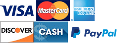 Visa, MasterCard, American Express, Discover, Cash, PayPal
