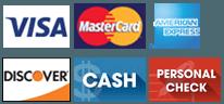 Visa | MasterCard | AmericanExpress | Discover | Cash | Personal Check