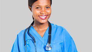 A Female Doctor in Blue Scrubs