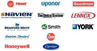 Trane, Navien, Bradford White, American Standard, Honeywell, Uponor, The Unico System, AO Smith, Rheem, Carrier, Goodman, Lennox, York
