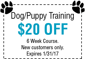 Dog/Puppy Training $20 OFF Coupon