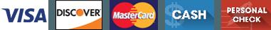 Visa, Discover, Master Card, Personal Check