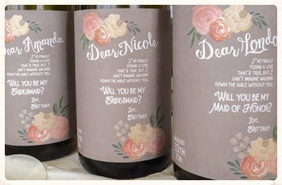 Gorgeous wine labels.  Can't wait to give them to my girls for my Bridesmaids Proposal!