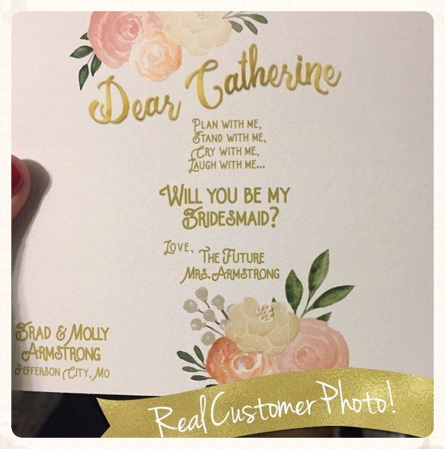 Crushing on this custom-made Be My Bridesmaid wine label from Relax Event Studio.